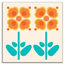 "Folksy Love 4-1/4"" x 4-1/4"" Glossy Decorative Tile in Pressed Flowers Orange"