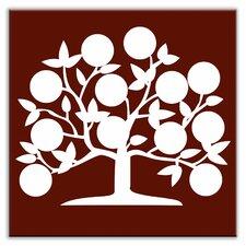 "Folksy Love 4-1/4"" x 4-1/4"" Glossy Decorative Tile in Tree of Life Burgundy"