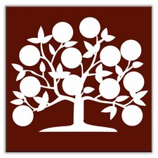 "Folksy Love 4-1/4"" x 4-1/4"" Satin Decorative Tile in Tree of Life Burgundy"