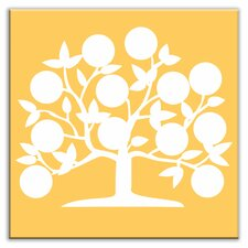 "Folksy Love 4-1/4"" x 4-1/4"" Satin Decorative Tile in Tree of Life Yellow"