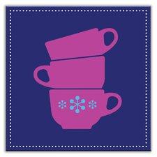 "Kitschy Kitchen 4-1/4"" x 4-1/4"" Satin Decorative Tile in Coffee Time Blue-Purple"