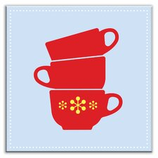 """Kitschy Kitchen 4-1/4"""" x 4-1/4"""" Glossy Decorative Tile in Coffee Time Light Blue-Red"""
