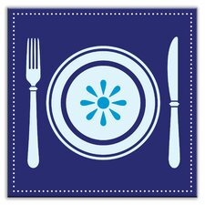"Kitschy Kitchen 4-1/4"" x 4-1/4"" Satin Decorative Tile in Let's Eat Blue"