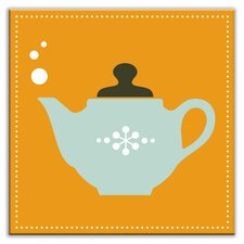 "Kitschy Kitchen 4-1/4"" x 4-1/4"" Glossy Decorative Tile in Spot of Tea Orange-Light Teal"