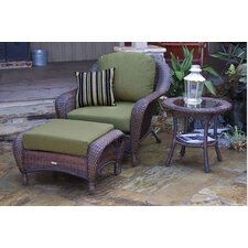 <strong>Tortuga Outdoor</strong> Lexington 3 Piece Arm Chair, Ottoman and Table Set with Cushions