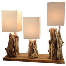 "Natura Primitive Triple 21.84"" H Table Lamp with Rectangle Shade"