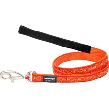 Cosmos Patterned Dog Lead in Orange