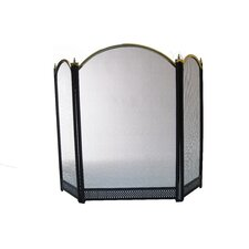 Three Panel Fire Screen in Black and Polished Brass