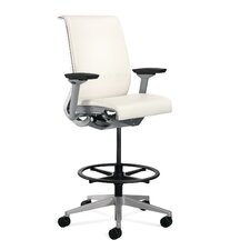 Think® Leather Height Adjustable Drafting Stool