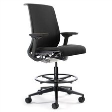 <strong>Steelcase</strong> Think Leather Height Adjustable Drafting Stool