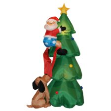6 ft. Christmas Tree with Santa and Dog Decoration