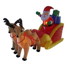 6 ft. Long Santa Sleigh with Two Reindeer Decoration