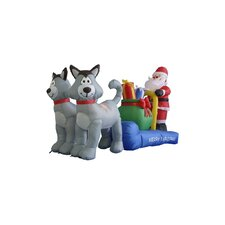 7 ft. Long Husky Sleigh with Santa Decoration