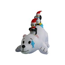 6 ft. Long Polar Bear with Penguins Decoration
