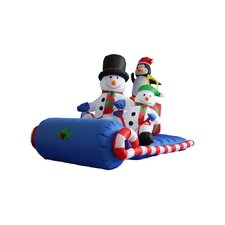 6 ft. Long Snowmen Family on Sleigh Decoration