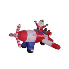8' Long Christmas Inflatable Animated Santa Claus Driving Airplane