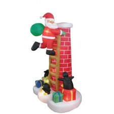 8.5' Christmas Inflatable Santa Claus Climbing Chimney