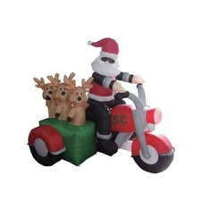 6' Christmas Inflatable Santa Claus Driving Motorcycle with 3 Reindeer