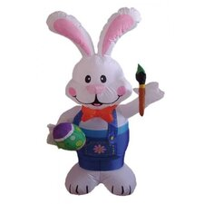 4' Easter Inflatable Rabbit Holding Color Pen