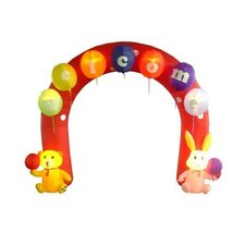 9' Easter Inflatable Arch with Rabbit and Bear