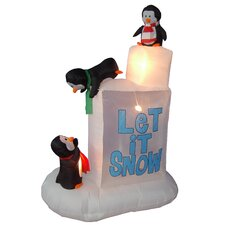 Christmas Inflatables Penguins on Ice Decoration