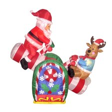 Christmas Inflatables Animated Santa Reindeer Teeter Totter Decoration