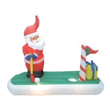 Christmas Inflatable Santa Claus Play Golf Decoration