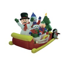 Christmas Inflatable Snowmen on Sleigh