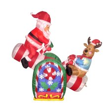 4 Foot Animated Santa Clause and Reindeer Teeter Totter Inflatable