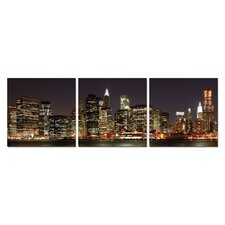 Skyline at Night Modern 3 Piece Photographic Print