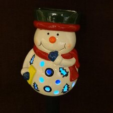 Snowman Ceramic Solar Powered Changing LED Light