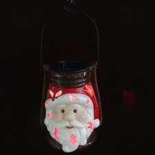 Santa Claus Ceramic Solar Powered Changing LED Light Lantern