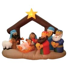 6' Long Christmas Inflatable Nativity Scene Under Stable