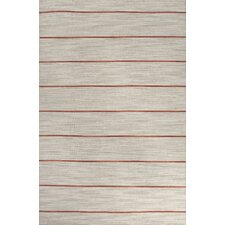 C. L. Dhurries Gray/Red Stripe Area Rug