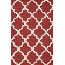 City Red / Ivory Geometric Area Rug