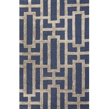 City Deep Navy / Beige Geometric Area Rug