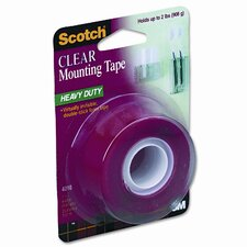 Double-Sided Mounting Tape, Industrial Strength, 1 x 60, Clear/Red Liner