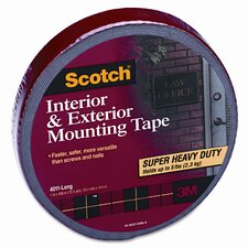 Exterior Weather-Resistant Double-Sided Tape, 1 x 450, Gray with Red Liner