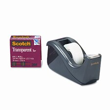 "C60 Desktop Dispenser/12 Rolls Transparent Glossy Tape, 1"" core, Black"