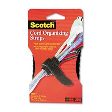 "Cord Management Bundling Straps, 8"", Six Straps per Pack, Black"