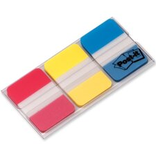 "Durable Index Tabs,1""x1-1/2"",36 Tabs/PK,Red/Blue/Yellow"