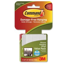 <strong>3M</strong> Picture Hanging Strips w/Adhes, Med, Holds 3lbs., 6 per Pack, White