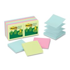 Post-It Greener Notes Recycled Pop-Up Notes Refill, 100 Sheets/Pad, 12 Pads/Pack