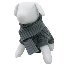 Cable Knit Dog Sweater and Scarf in Grey