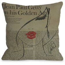 Fashionista Throw Pillow in Beige