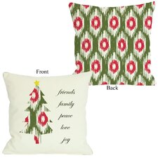 Friends Family Peace Ikat Christmas Tree Reversible Pillow