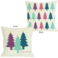 Very Merry Christmas Trees Reversible Pillow