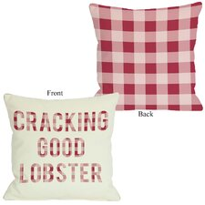 Crackin Good Lobster Plaid Pillow