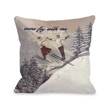 Come Fly with Me Vintage Ski Pillow
