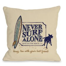 Doggy Décor Never Surf Alone Throw Pillow